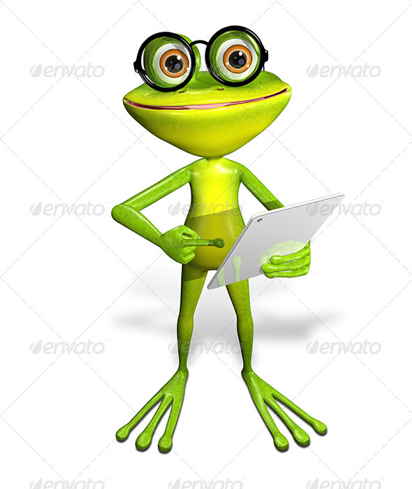 frog with a tablet - Characters 3D Renders