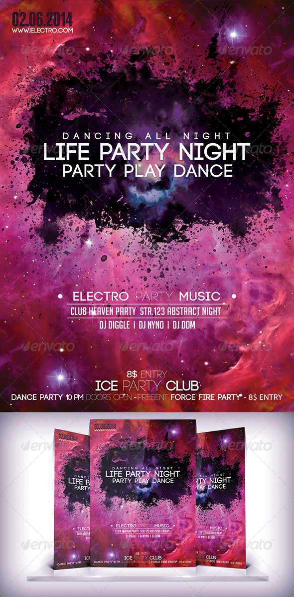 Life Party Night Fyer - Flyers Print Templates