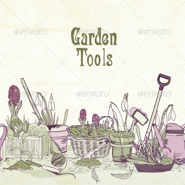 Gardening Tools - Borders Decorative