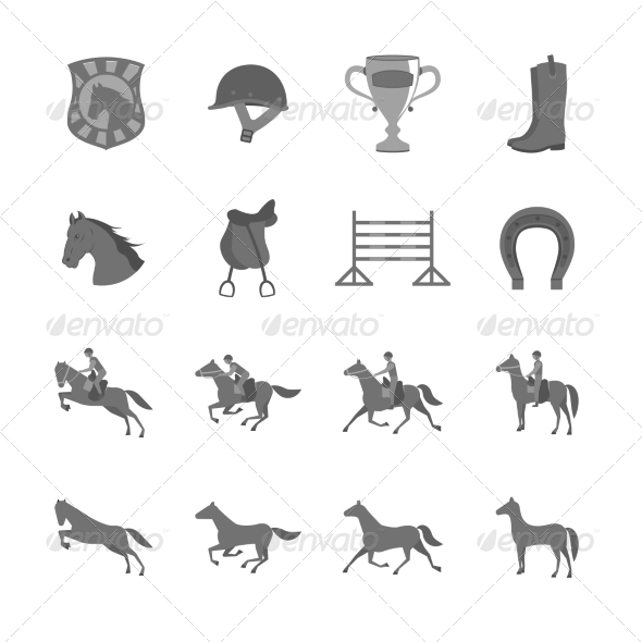 Horse Riding Icons - Web Elements Vectors