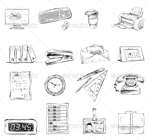 Stationary Icons - Web Elements Vectors