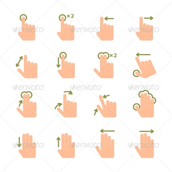 Hand Touch Gesture Icons - Web Elements Vectors