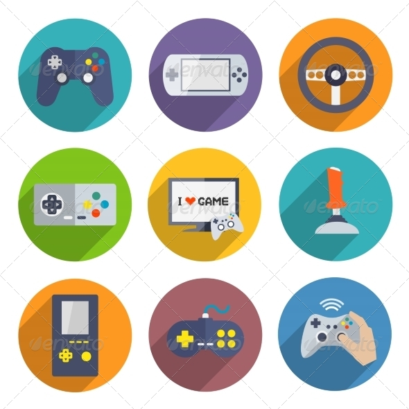 Video Games Controller Icons Set - Computers Technology