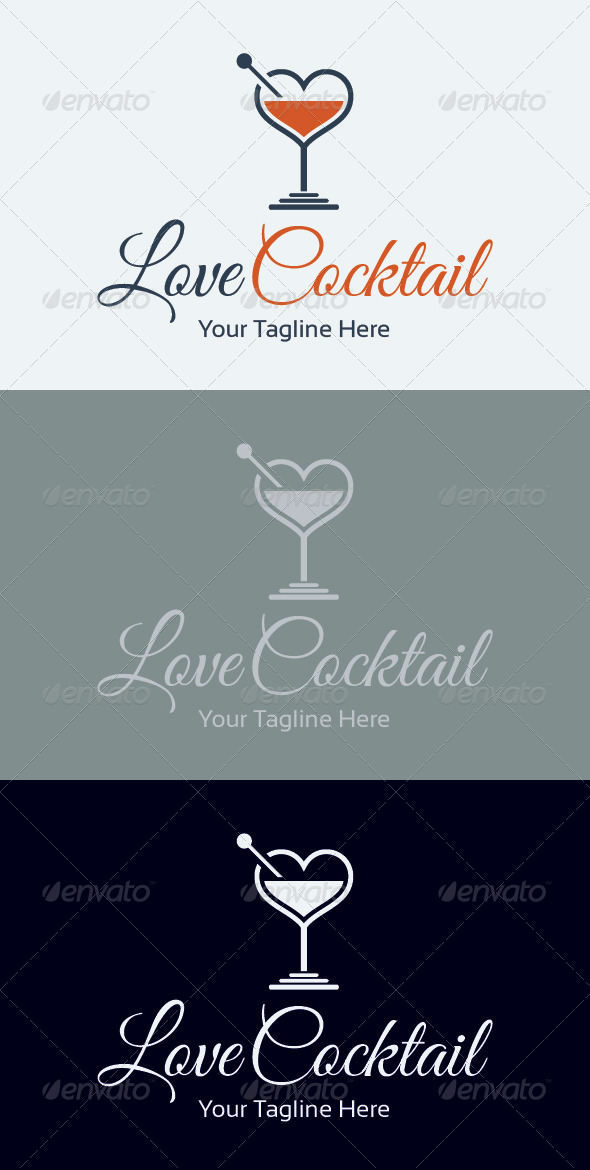 Love Cocktail Logo Template - Food Logo Templates