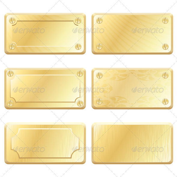 Gold Metal Labels - Decorative Vectors