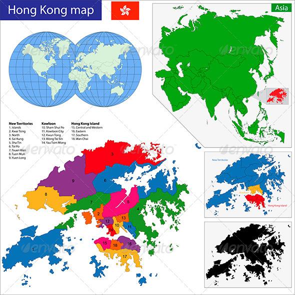 Hong Kong Map - Travel Conceptual