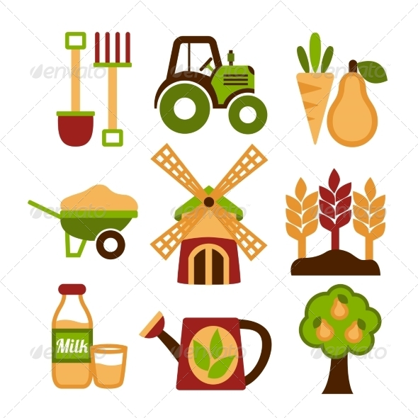 Farming Harvesting and Agriculture Icons Set - Web Icons