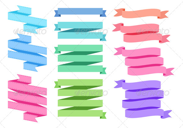Colorful Ribbon Set - Decorative Symbols Decorative