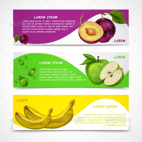 Fruit Banners - Food Objects