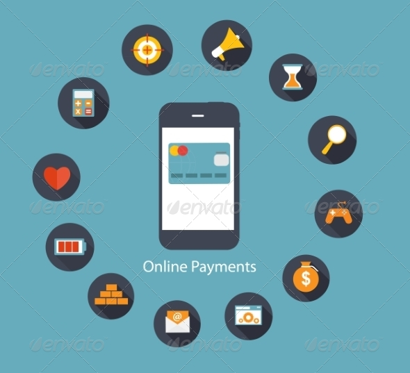Online Payments Flat Concept Vector Illustration - Web Technology