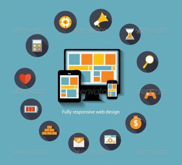 Modern Flat Icon Set for Web - Web Technology