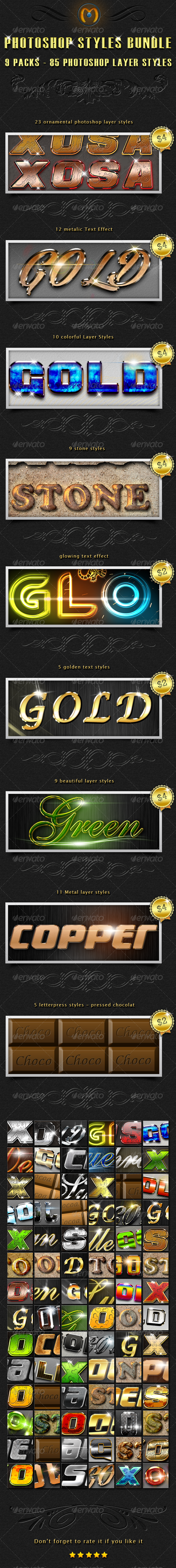 85 Photoshop Styles Bundle 2 - Text Effects Styles
