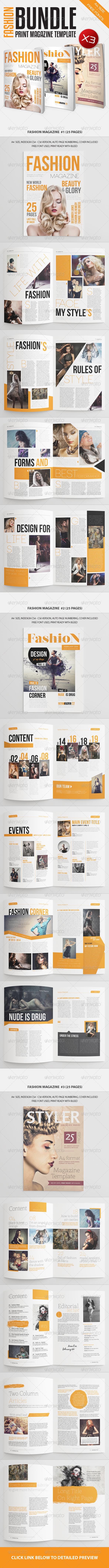 Fashion Magazine Bundle Vol1 - Magazines Print Templates