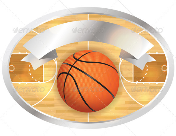 Basketball Court Badge and Banner - Sports/Activity Conceptual