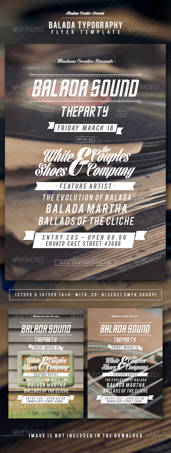 Balada Typography Flyer Template - Concerts Events