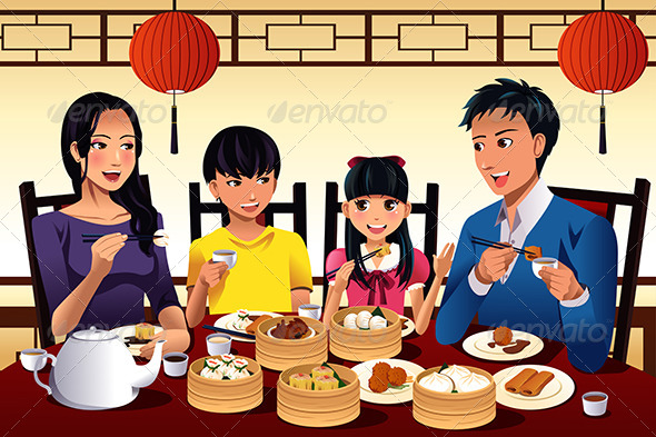 Chinese Family Eating Dim Sum - People Characters