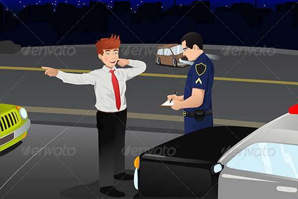 Police Conducting a DUI Test for a Drunk Driver - People Characters