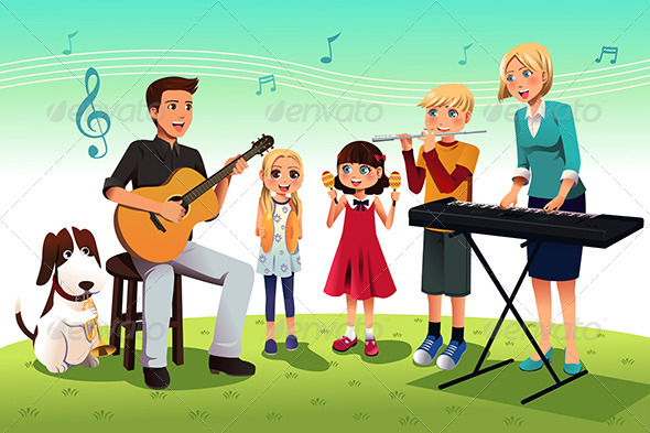 Family Playing Music - People Characters