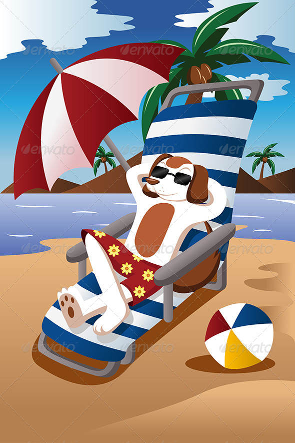 Dog at the Beach - Conceptual Vectors