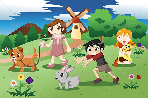 Little Kids with Pets in the Garden - People Characters