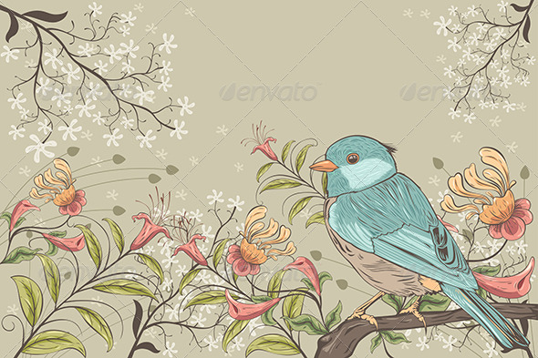 Flowers and Bird - Backgrounds Decorative