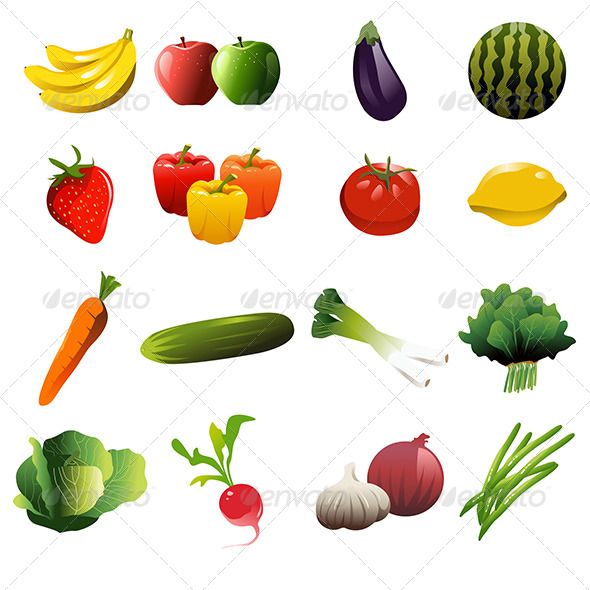 Fruit and Vegetable Icons - Food Objects