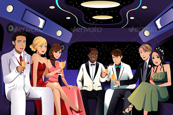 Teenagers Going to a Prom Party in a Limousine - People Characters