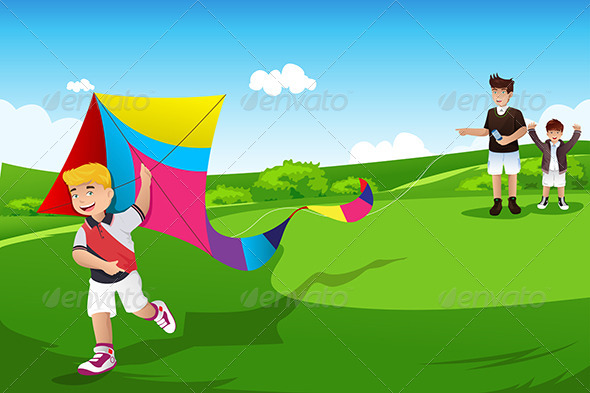 Boys Flying Kite with their Dad - Sports/Activity Conceptual