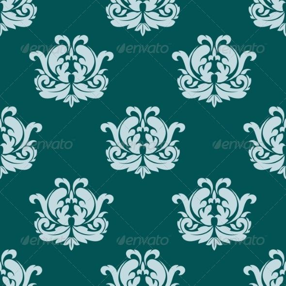 Seamless Damask Style Pattern in Blue - Patterns Decorative