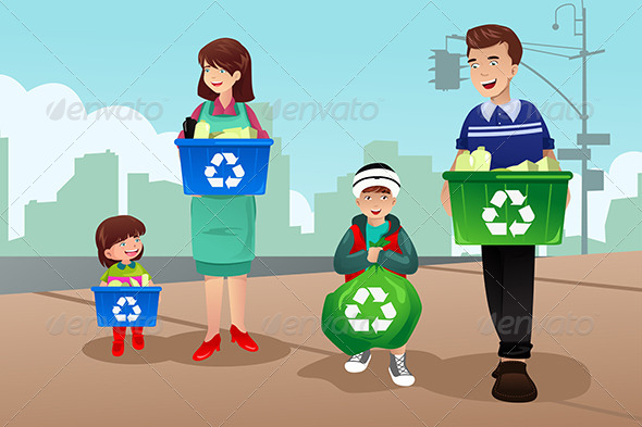 Family Recycling - People Characters