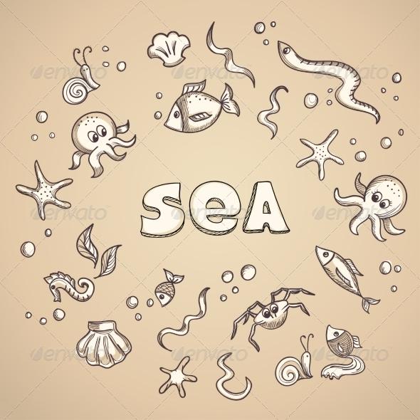 Sea Life Elements - Animals Characters