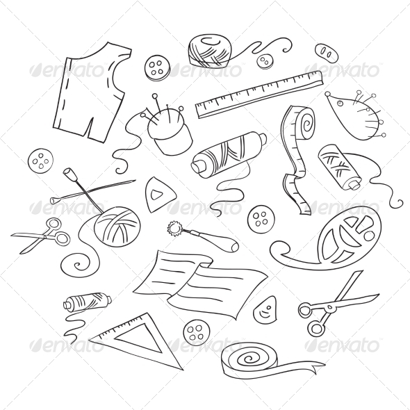 Sketch of Sewing Tools - Man-made Objects Objects