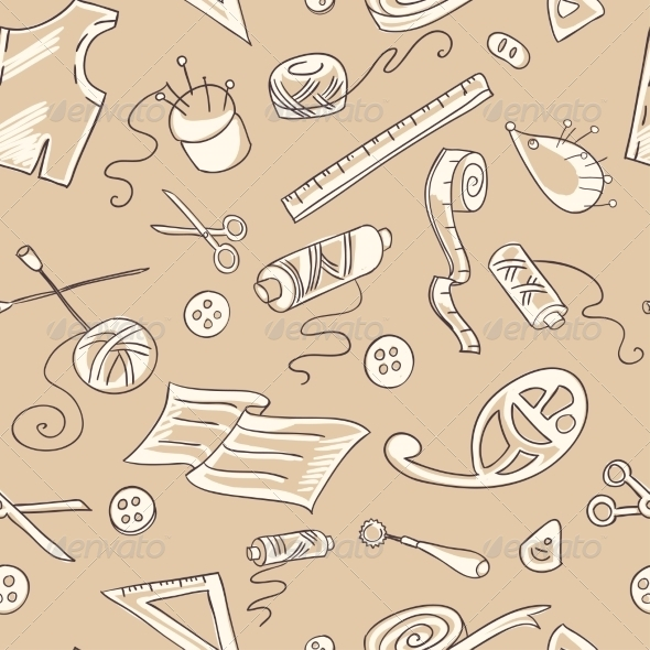 Seamless Background with Sewing Tools - Backgrounds Decorative