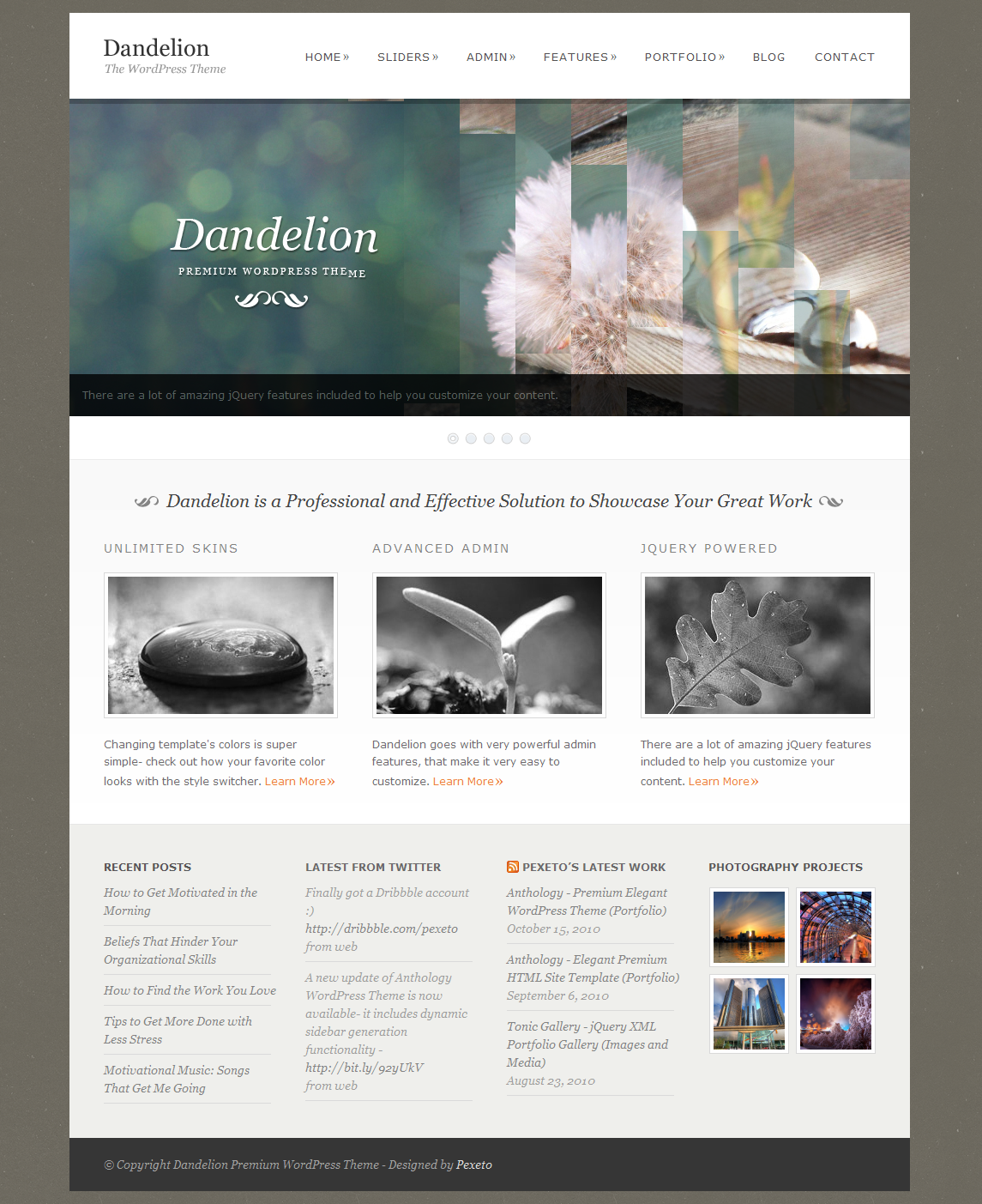 dandelion powerful elegant wordpress theme by pexeto themeforest. Black Bedroom Furniture Sets. Home Design Ideas