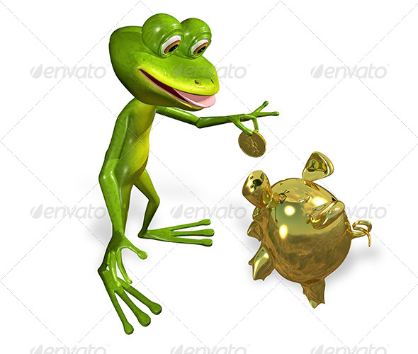 Frog with Piggy Bank - Characters 3D Renders