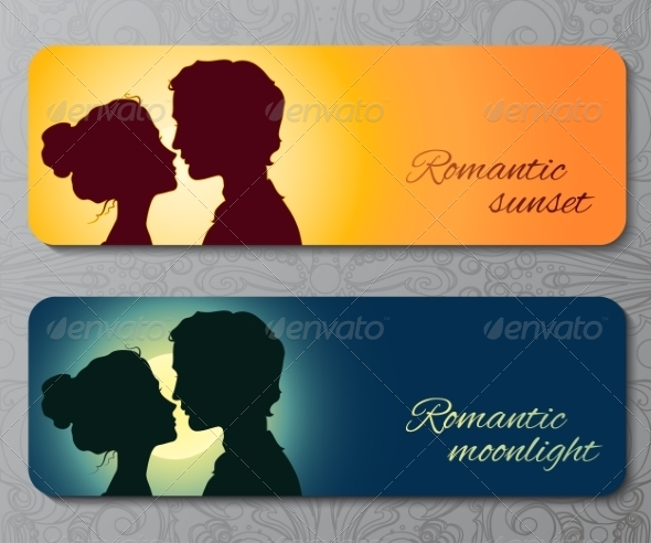 Banners with Silhouettes of Kissing Couple - Valentines Seasons/Holidays