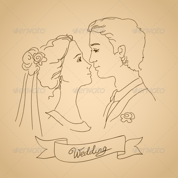 Sketch of Bride and Groom - People Characters