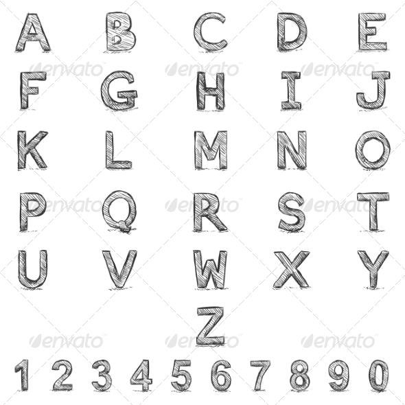 Sketch Alphabet with Numbers  - Miscellaneous Vectors