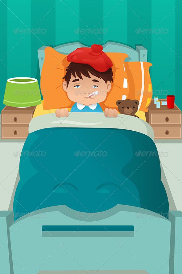 Sick Kid Resting - Health/Medicine Conceptual