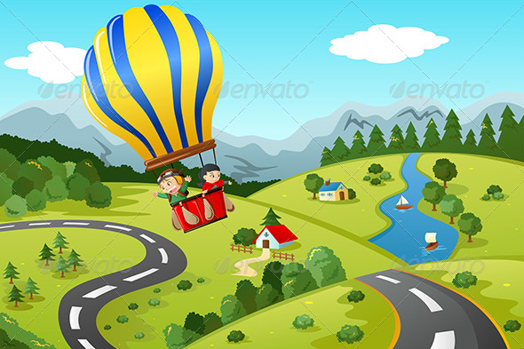 Kids Riding Hot Air Balloon - People Characters