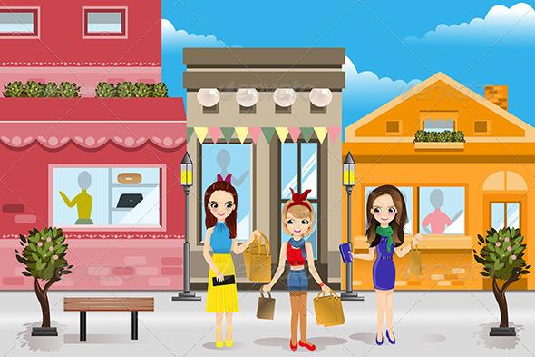 Modern Women Shopping - Commercial / Shopping Conceptual