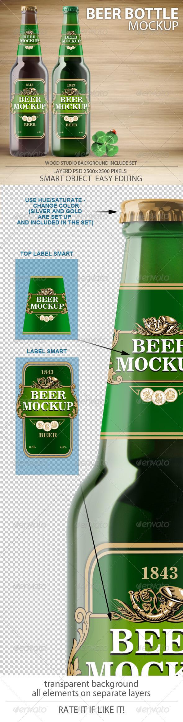 Beer Bottles mock-up - Food and Drink Packaging