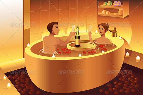 Couple Enjoying a Romantic Bath - People Characters