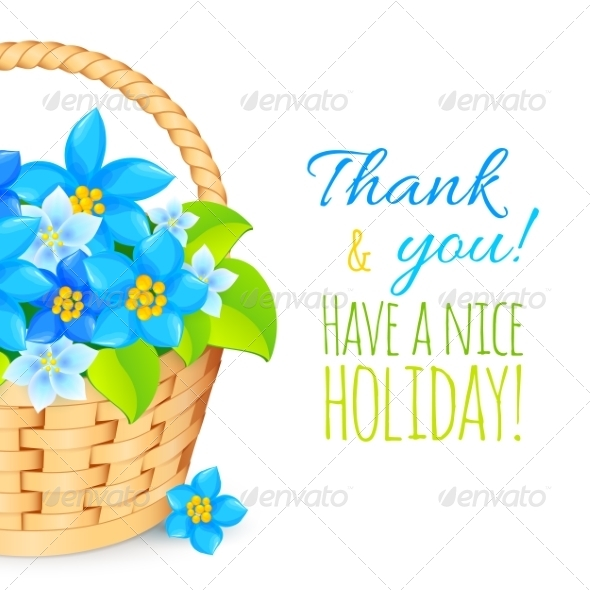 Basket with Blue Flowers Greeting Card Template - Flowers & Plants Nature