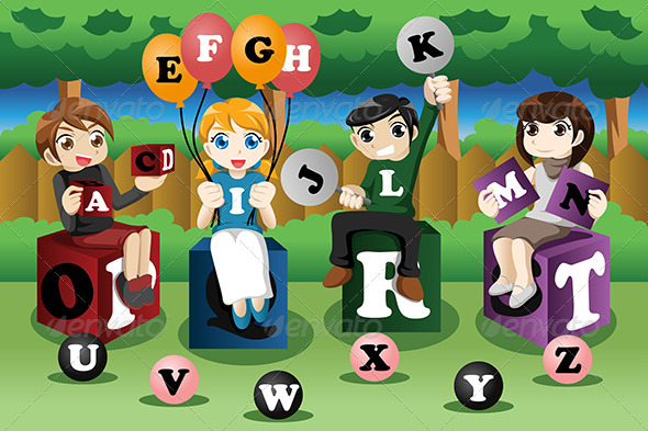 Kids Learning the Alphabet - People Characters