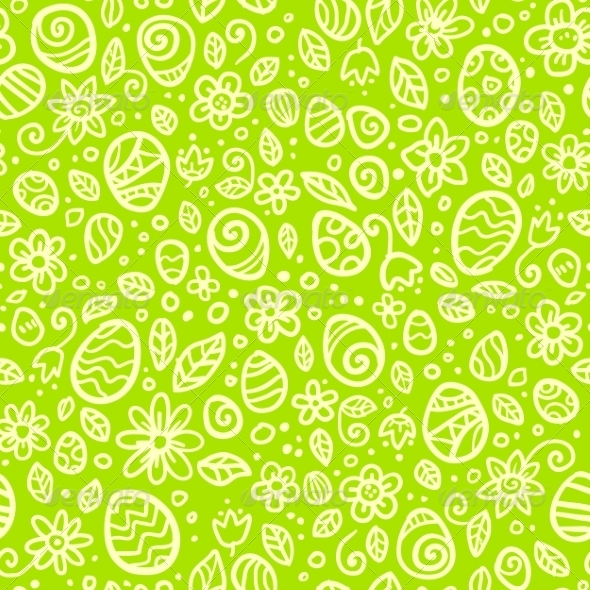 Green Easter Doodles Seamless Pattern - Backgrounds Decorative