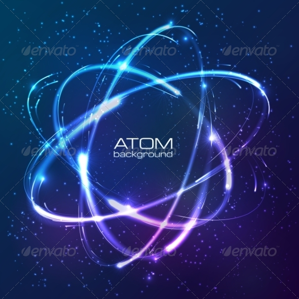 Shining Neon Lights Atom Model - Flourishes / Swirls Decorative