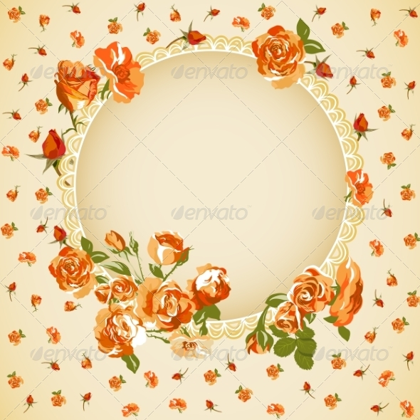 Vintage Floral Background with Roses  - Patterns Decorative