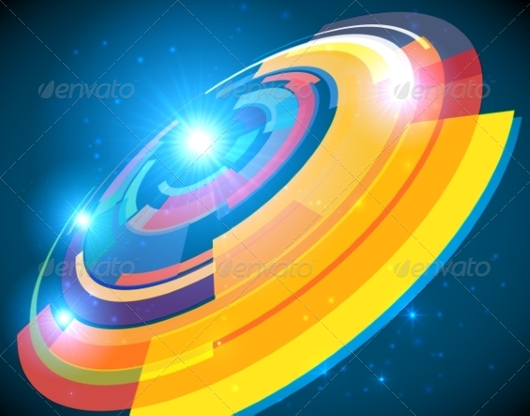 Abstract Cosmic Shining Colorful Circle Frame - Backgrounds Decorative