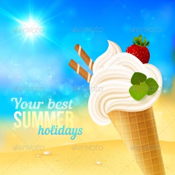 Soft Strawberry Ice-Cream on Beach Background - Travel Conceptual